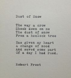 Robert Frost Snow Poem, simply beautiful