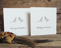 Pheasant Wedding invitations. Available from www.afarmersdaughter.co.uk Prices from £2.45 each.