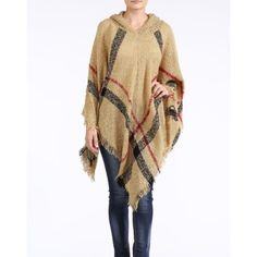 """""""Romance"""" Plaid Poncho Hoodie Sweater Plaid hoodie poncho cardigan sweater. Available in camel, navy and black. This listing is for the CAMEL (pic 1). Brand new. One size fits most. NO TRADES DON'T ASK. Bare Anthology Sweaters Shrugs & Ponchos"""