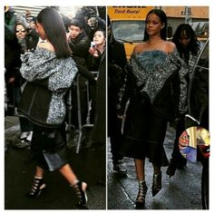 Rihanna spotted at Kanye West Debut for his Adidas collection Yeezy Boosts during New York Fashion Week. .