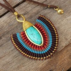 Shaped brass necklace with woven cotton details and turquoise drop Macrame Earrings, Brass Necklace, Macrame Jewelry, Blue Earrings, Wire Jewelry, Jewelery, Collar Macrame, Micro Macramé, Diy Crafts Jewelry