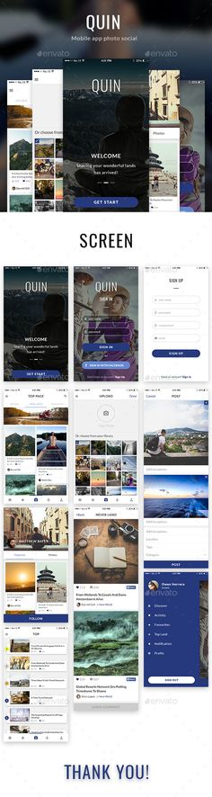 QUIN – Mobile App Photo Social Template PSD. Download here: http://graphicriver.net/item/quin-mobile-app-photo-social/15696207?ref=ksioks