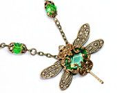 Cyber Monday Etsy, Jewelled Dragonfly Necklace, Steampunk Jewelry