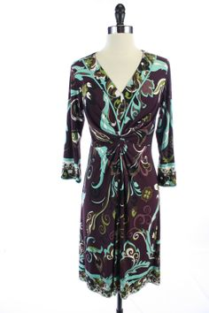 MUSE Purple FLORAL Ruched V-NECK Long Sleeve FLARE DRESS 8 PETITE 8P