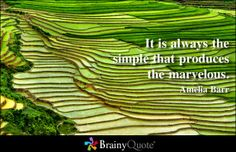It is always the simple that produces the marvelous. - Amelia Barr