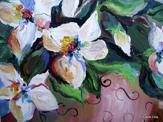Magnolias Still Life Oil Painting 12 x 12 by ElainesHeartsong