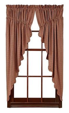 Our Patriotic Patch Scalloped Lined Prairie Curtains are so sweet with their checked design. They will be sure to give your room a primitive touch. https://www.primitivestarquiltshop.com/products/patriotic-patch-scalloped-lined-prairie-curtains #countrystylecurtains