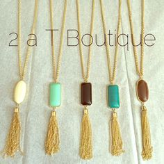 NEW ARRIVAL! Tassle necklace & earrings DO NOT  buy this listing, comment below with color to make sure I still have it available and I will make you a personal listing  Super cute tassle necklace and earrings. Necklace length is approximately 17in long including tassle. Earrings measure approximately 3in long. T690 colors: cream, Mint, black, jade, brown 2 a T Boutique  Jewelry Necklaces