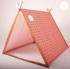 Wonder Tent & Clothes Rack Conversion Kit (Red Geometric Organic Cotton Canvas)