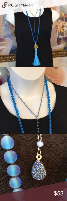 """Necklace Set Two piece necklace set. 34""""L frosted blue glass necklace set with beaded blue tassel and gold tone metal charm accents. 16""""L beaded necklace with druzy charm. Versatile set; wear pieces together, alone or coordinate with your personal favorite necklaces. Sizes: 16"""" w/8.5"""" and 34""""L w/7""""L drop. D.Green Designs Jewelry Necklaces"""