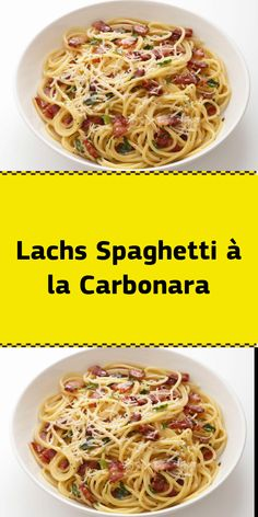 Salmon Spaghetti à la Carbonara - Working time: approx. / Difficulty level: normal / calorie p. Greek Recipes, Whole Food Recipes, Salmon Fillets, Smoked Salmon, Potato Recipes, Food Hacks, Seafood, Food And Drink, Color