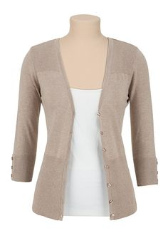 3/4 Sleeve Ribbed Shoulder Cardigan - maurices.com - size small