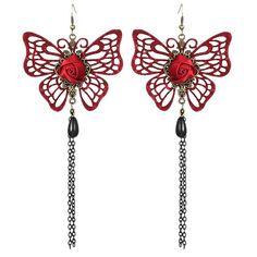 Butterfly Rose Teardrop Earrings - RED