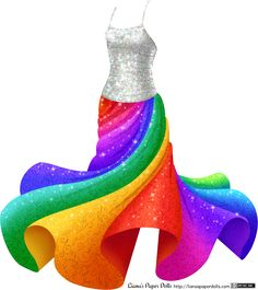 Sparkly, Twirly Rainbow Dress at Liana's Paper Dolls! Full post and free PDFs to print at my site: http://lianaspaperdolls.com/2015/04/10/sparkly-twirly-rainbow-dress/