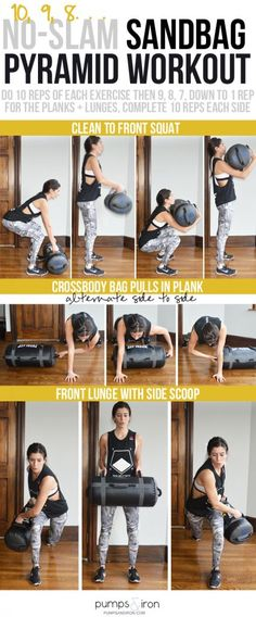 No-Slam Sandbag Pyramid Workout