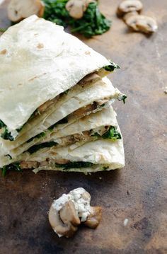 Mushroom, Spinach and Goat Cheese Quesadillas