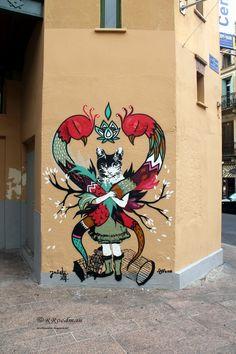 Wall paints, Muurschilderingen, Peintures Murales,Trompe-l'oeil, Graffiti, Murals, Street art.: Perpignan - France  La Nena