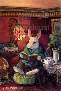 Cozy Rabbit Signed Print titled A Night In by toadbriar on Etsy, $22.00