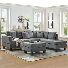 Latitude Run Upholstery sectional sofa with storage ottoman, thick cushions 3-piece contemporary sectional sofa with chaise and storage ottoman for living room furniture L shape sofa. Sectional Sofa With Chaise, Modern Sectional, Ottoman In Living Room, Living Room Grey, Furniture Sofa Set, Living Room Furniture, L Shaped Couch, Sofa Design, Lounge