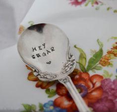 Stamped Spoon, Hand Stamped Vintage Silverware, Arbutus, Vintage Sugar Spoon,Hey Sugar