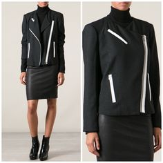 Helmut Lang Black & White Jacket SO chic and perfectly on trend! In like new condition, zero flaws. Black with white pocket detail. No trades!! 04151650gwb Helmut Lang Jackets & Coats Blazers