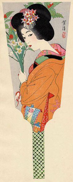 hanga gallery . . . torii gallery: Battledore Print: Girl Arranging Flowers by Shiro Kasamatsu
