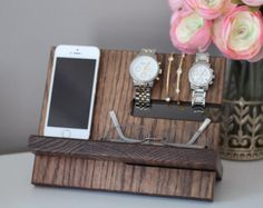 This Watch and iPhone dock is made from solid oak construction, handmade, hand-stained here in the US, and made to order. Sturdy, solid, and heavy