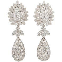 DAVID WEBB Diamond Pendant Earclips ($97,500) ❤ liked on Polyvore featuring jewelry, earrings, jewels, diamond jewellery, diamond pendant earrings, david webb, diamond jewelry and diamond earrings