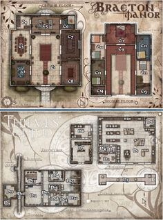 Map of Braeton Manor and Thieves' Guild - Pathfinder - Golarion