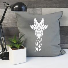 Geometric Giraffe Cotton Cushion