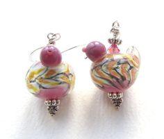Purple and Yellow Bird Earrings with Handmade Lampwork by nemeton