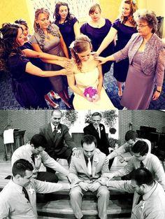 Picture of bridesmaids and groomsmen praying over bride/groom, with parents included @Allison Rice Carpenter