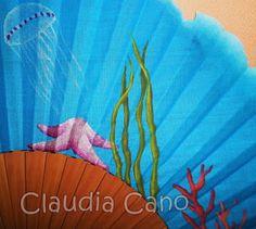 Abanicos pintados a mano por Claudia Cano. http://cuadromovilesrefrescantes.blogspot.com.es/