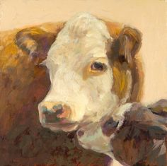 "Lucky and her Calf  oil painting  6"" x 6"" www.nancybassartist.com"