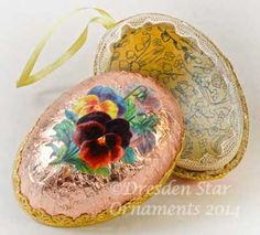 2-Sided Light Peach-Pink Foiled Paper Egg Container with Pansies http://victorianornaments.com