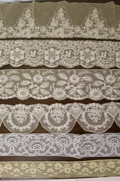 Beautiful antique ribbon laces in tones of pale ivory and beige in a rich variety design and depth. Lace Ribbon, Lace Fabric, Antique Lace, Vintage Lace, Sewing Lace, Vintage Sewing Notions, Fru Fru, Art Textile, Pearl And Lace
