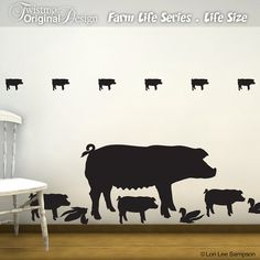 Start your own FARM indoors! These pig wall decals are life size $29.00