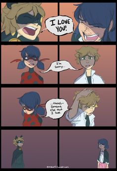 This is inaccurate, chat nior is adrien so there is no reason for him to break Marinette'a heart. Plus ladybug is Marinette so there is no reason for her to break Adrien's heart! Meraculous Ladybug, Ladybug Comics, Ladybug Crafts, Bugaboo, Lady Bug, Cn Fanart, Ladybug Und Cat Noir, Catty Noir, Miraculous Ladybug Fan Art