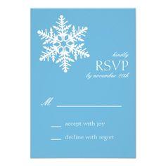 Jumbo Snowflake RSVP Cards (Sky Blue) Personalized Invitations