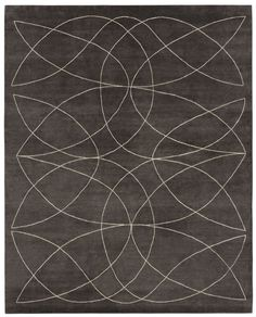 Dark grey - light beige. Hand knotted in wool + bamboo silk, pattern in natural linen. Made in Nepal. Design Kristiina Lassus.