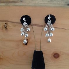 Sterling silver dangling cluster earrings with by BlkBttrflyDsgns