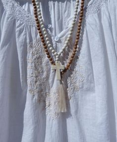 white beaded cross necklace  rosary bead necklace  beach bohemian by beachcombershop