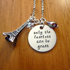"""Disney's Ratatouille Inspired Necklace. Remy quote """"only the fearless can be great"""" by WithLoveFromOC, $21.00. #Paris #Inspirational"""