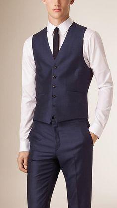 Bright navy Slim Fit Wool Silk Linen Half-canvas Three-Piece Suit - Image 3