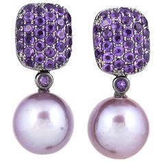 Pink Freshwater Pearl Amethyst Diamond Earrings | ☆$1,420.00☆ | 18KB Freshwater Pearl 10-11 mm Amethyst 1.45 Carats 3.6 G. The Freshwater Pearl can be removed and the earrings can be used as studs.