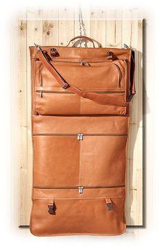Tri-Fold Vaquetta Leather Garment Bag, $365.00 #russelsformen