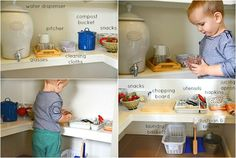 Take a peek into our Montessori kitchen areas through the years starting at eighteen months. As the children get older we naturally move things around. You will see a lot of the same materials just in