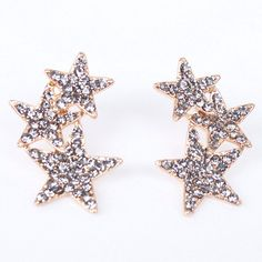 Pair of Noble Rhinestoned Pentagram Earrings For Women #CLICK! #clothing, #shoes, #jewelry, #women, #men, #hats