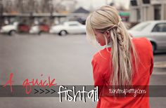 quick fishtail | twistmepretty.com tried this and it's SO pretty and easy! The best part is you don't need hairspray and it stays in all day.