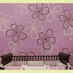 To heck with the baby's room - I want these flowers in MY ROOM!  =D   I <3 me some cherry blossoms!!